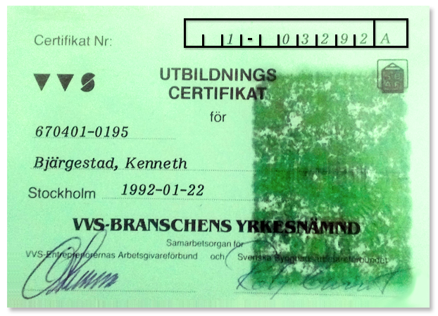 Utbildningscertifikat - VVS-Branshens Yrkesnämd